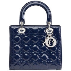 2009 Christian Dior Sapphire Blue Quilted Patent Leather Medium Lady Dior