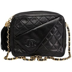 1990's Chanel Black Quilted Lambskin Vintage Tassel Camera Bag