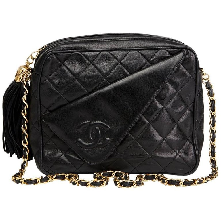 1990's Chanel Black Quilted Lambskin Vintage Tassel Camera Bag  For Sale