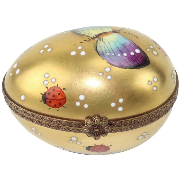 Charming Vintage Limoges Porcelain Egg Shaped Trinket Box