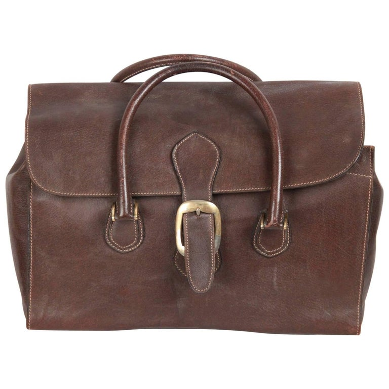 GUCCI VINTAGE Brown Leather TRAVEL BAG Weekender 1