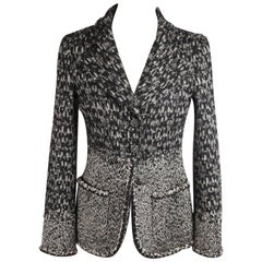 CHANEL Black Tweed Wool Blend FALL 2011 BLAZER Size 36