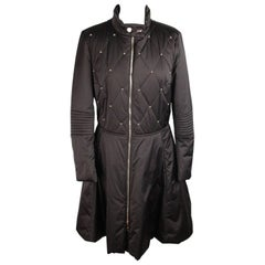 LOVE MOSCHINO Black PADDED COAT Beads Embellished SIZE 44