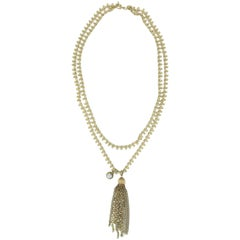 Vintage Multi Strand Articulated Gold Chain Tassel Necklace