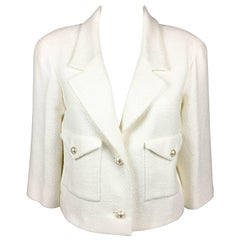 2012 Chanel Runway Look White Cotton Jacket With Faux-Pearl Buttons