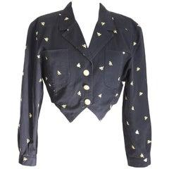 Roccobarocco vintage bolero short jacket women black size 42 cotton 1970s italy