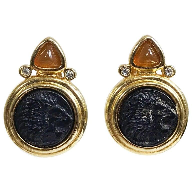 Jesara lion head intaglio earrings 1980s 1