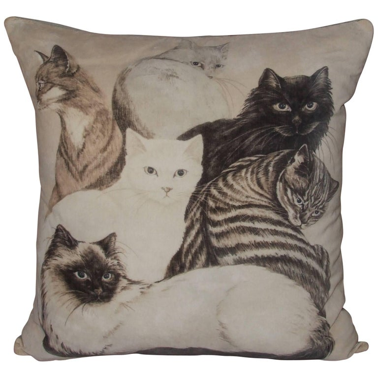 Cushion Pillow with Hermes Les Chats Cats Pattern Daphne Duchesne Velvet