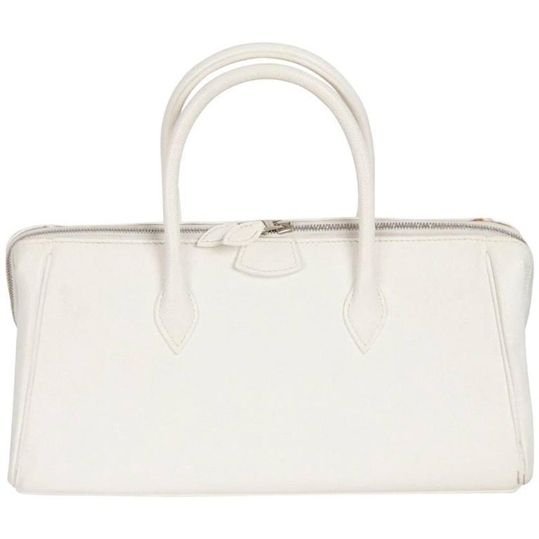 HERMES PARIS White Leather PARIS BOMBAY BAG 28 cm