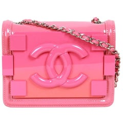 CHANEL Pink Patent Leather OMBRE BLOCK LOGO Mini CROSSBODY BAG Ltd Ed