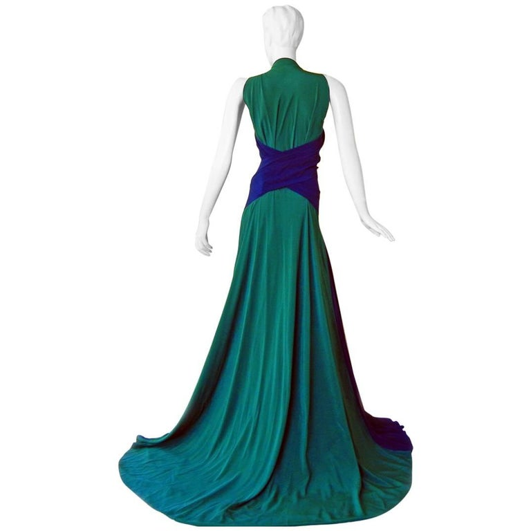 Vionnet Dramatic Colorblock Emerald Green & Navy Silk Gown with Train  NEW! For Sale