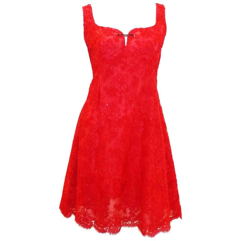 Bill Blass Red Lace Cocktail dress