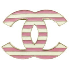 2013 Chanel Pink and White Enamel Stripy Brooch
