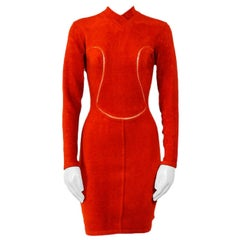Alaia 1990s iconic red stretch dress
