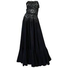 c.1947 Nina Ricci Haute Couture Black Lace & Taffeta Gown