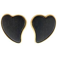 1980's Yves Saint Laurent Black-Wood Heart Earrings