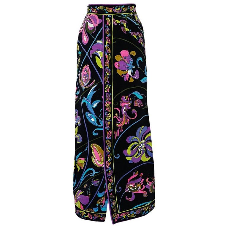 1960s Emilio Pucci Black Velvet With Vivid Floral Print Skirt
