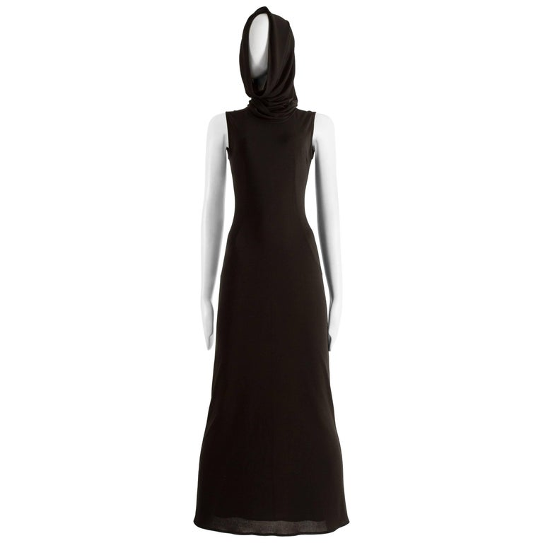 Dolce & Gabbana Spring-Summer 1996 black hooded evening dress
