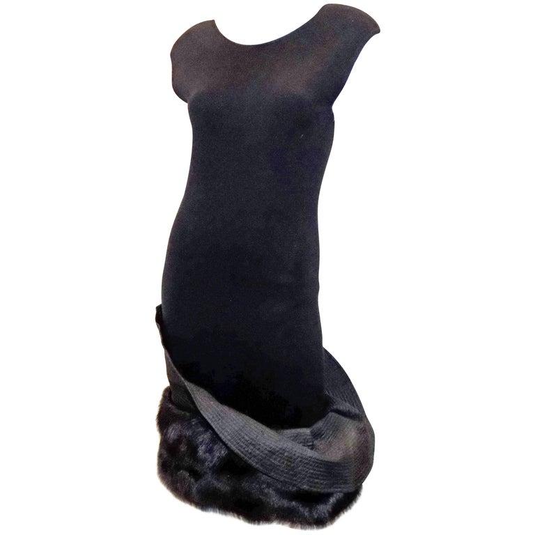 Gianfranco Ferre Vintage black knit cocktail dress with fox Fur trim For Sale