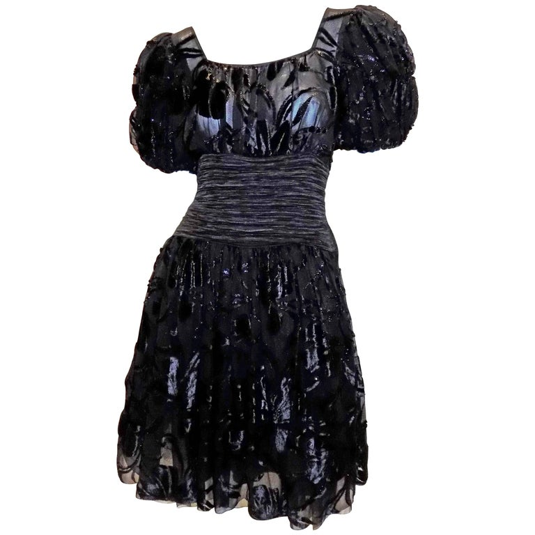 Mary McFadden  vintage black laser cut velvet cocktail dress