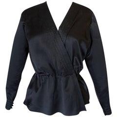 Fall 1978 Christian Dior Haute Couture Black Silk Wrap Top
