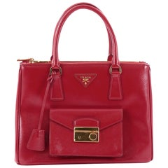 Prada Front Pocket Double Zip Lux Tote Vernice Saffiano Leather Medium