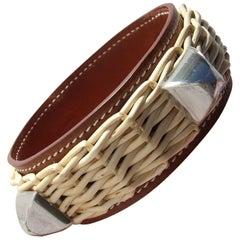 Rare Hermes Bracelet Medor CDC Picnic Osier Wicker Fauve Barenia PHW Size M