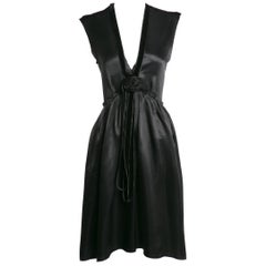 2005 Lanvin by Alber Elbaz Plunge Neck Black Satin Velvet Necklace Dress