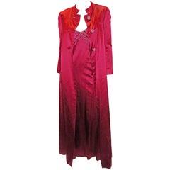 Malcom Starr floor length  evening coat and beaded dress 1960