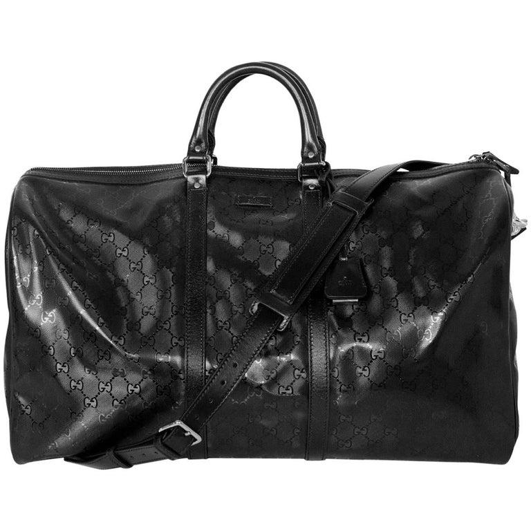 a02c88f77eb Gucci Black Coated Imprime Monogram Large Duffle Bag w. Dust Bag For Sale