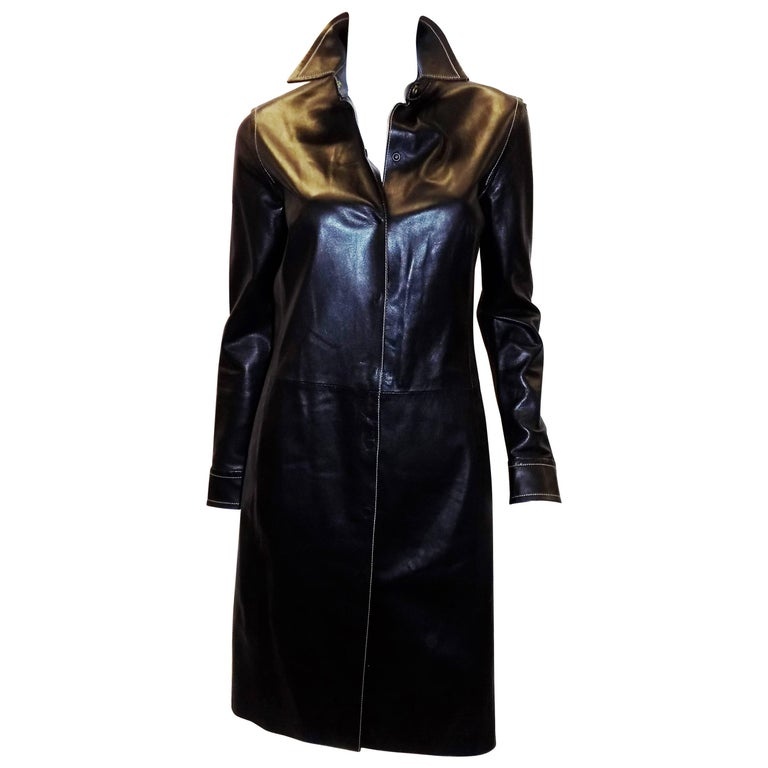 Coach black leather coat dress with tonal top stitch For Sale