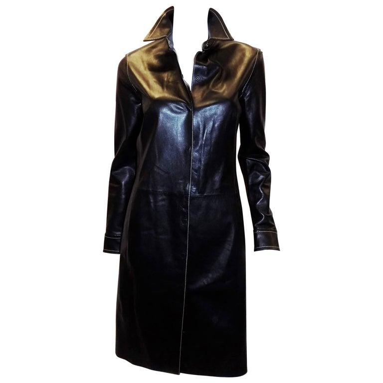 Coach black leather coat dress with tonal top stitch
