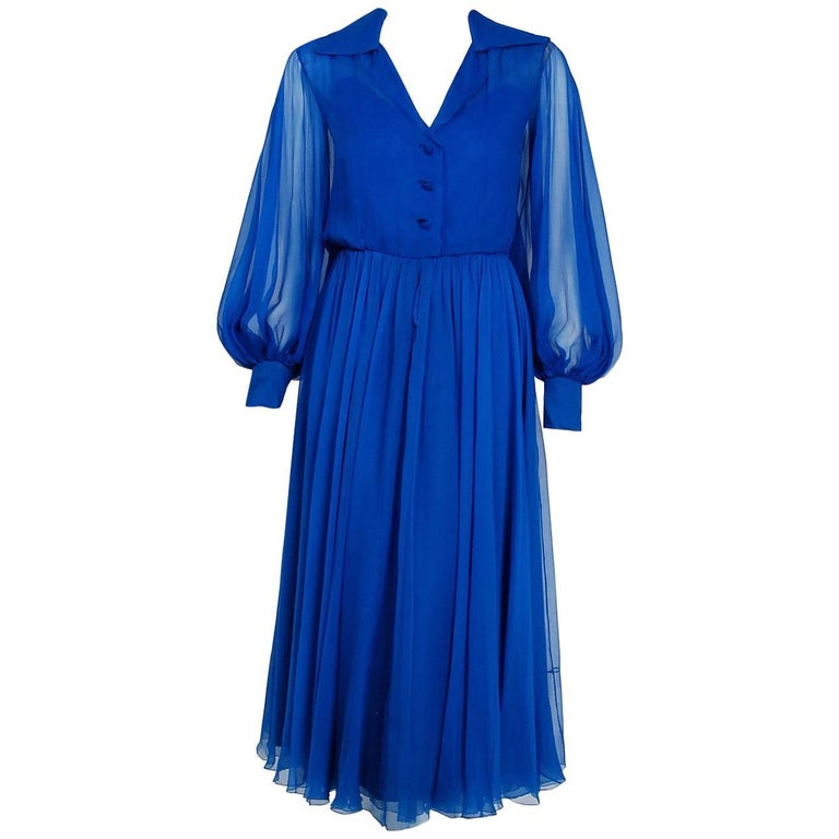 1973 Christian Dior Demi-Couture Sapphire Blue Silk Chiffon Billow-Sleeve Dress