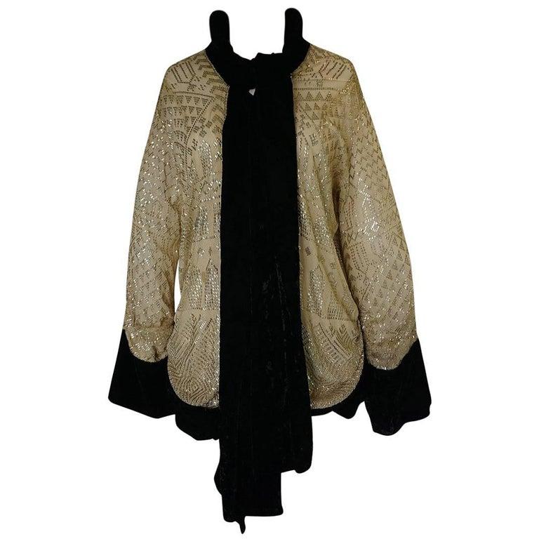 1920s or 1930s Handmade Assuit & Velvet Tie Front Flapper Jacket