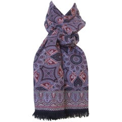 Gorgeous Hermes Long Scarf Stole Pashmina Cashmere Silk Indian Pattern Purple