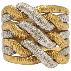 Woven Two Color 7 band Italian Gold Band