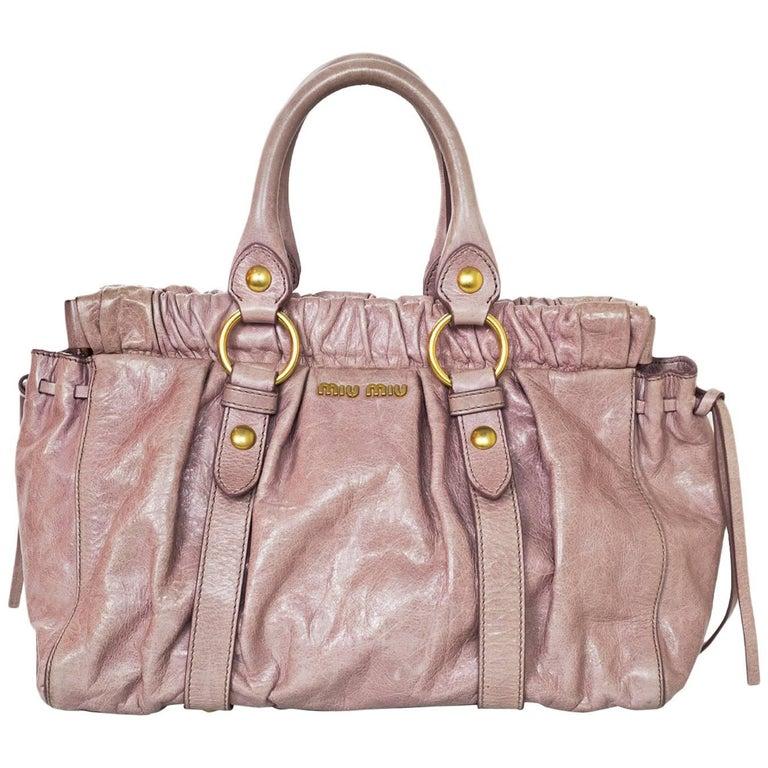 Miu Miu Rose Pink Ruched Leather Handbag