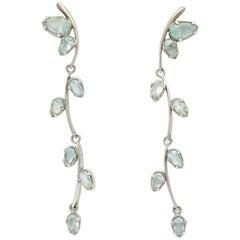 Aquamarine and White Gold Drop Earrings.
