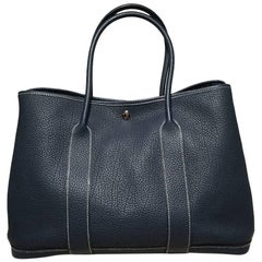 Hermes Dark Teal Clemence Leather Garden Party Tote