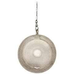 Etched 900 Silver Mirror Lidded Box on Silver Chain