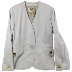 Vintage Hermes Blazer in Cotton with Chaine D'ancre Buttons Size Fr 38