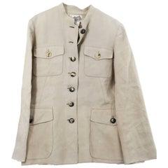 Hermes Vintage Saharian jacket in Brown Linen Size Fr 40
