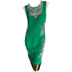 Thakoon Bejeweled Green Cocktai Dress