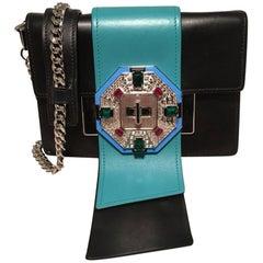 Prada Black and Teal Leather Jeweled Front Shoulder Bag Clutch