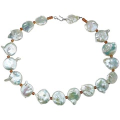 Gemjunky Large White Coin Pearl Necklace