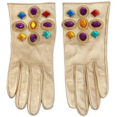 Christian Lacroix Jeweled Leather Gloves