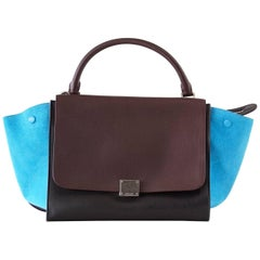 Celine Bag Trapeze Medium Tri Colour Black Brown Leather with Blue Suede