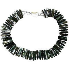 Gemjunky Gray Blue Green Mother of Pearl Collar