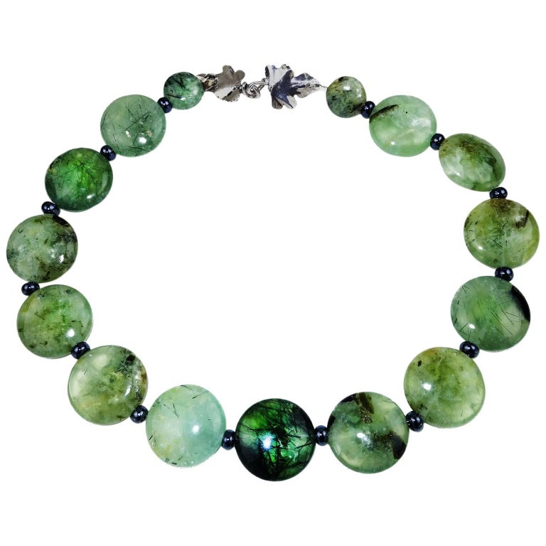Brazilian Round Prehnite Necklace with Sterling Silver leaf clasp For Sale
