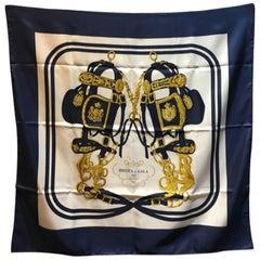 Hermes Vintage Brides de Gala Silk Scarf in Navy